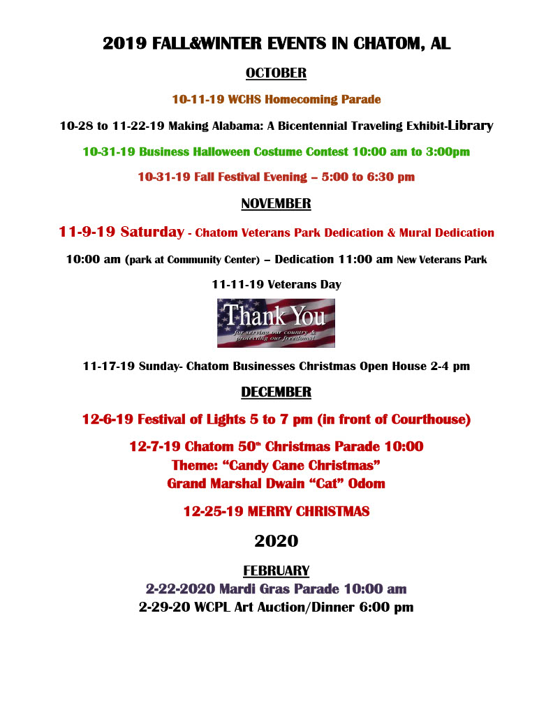 Halloween Events 2020 Alabama.Events Town Of Chatom